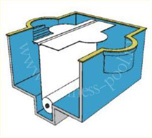 Фото: Подводное размещение вала сматывающего устройства жалюзи в дне бассейна с двойным раскрытием