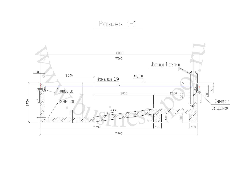 Разрез 1-1 тз-0025-с
