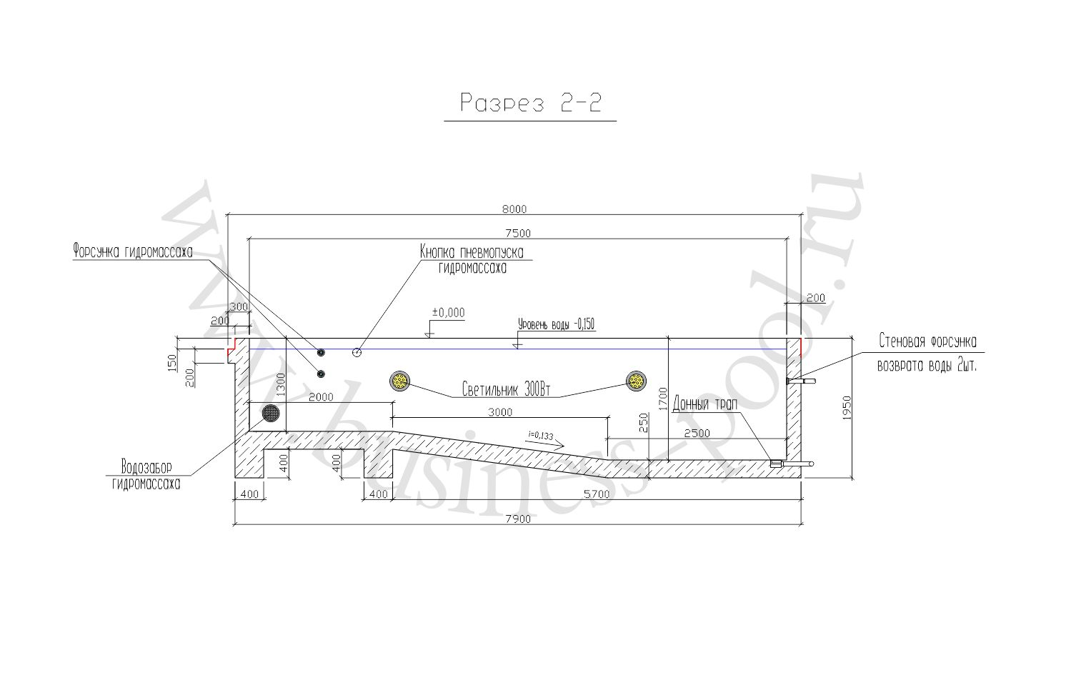 Разрез 2-2 тз-0025-с